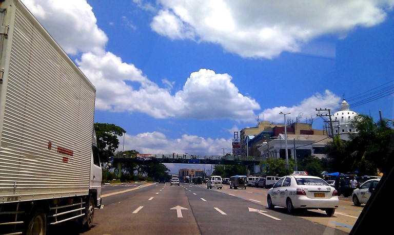 Clear blue skies on the road home in Manila