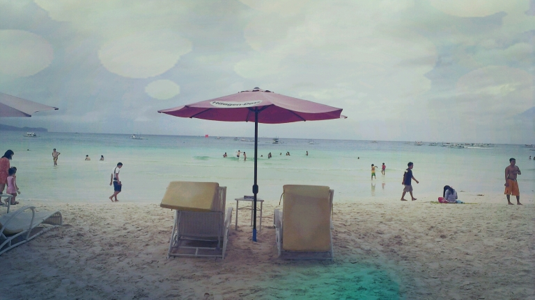 2 beach chairs, 1 umbrella, 1 Boracay