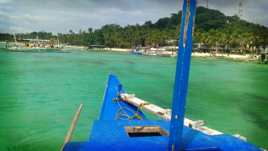 The busy shore of Boracay