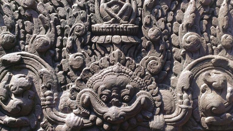 Stone carvings at Bayon temple