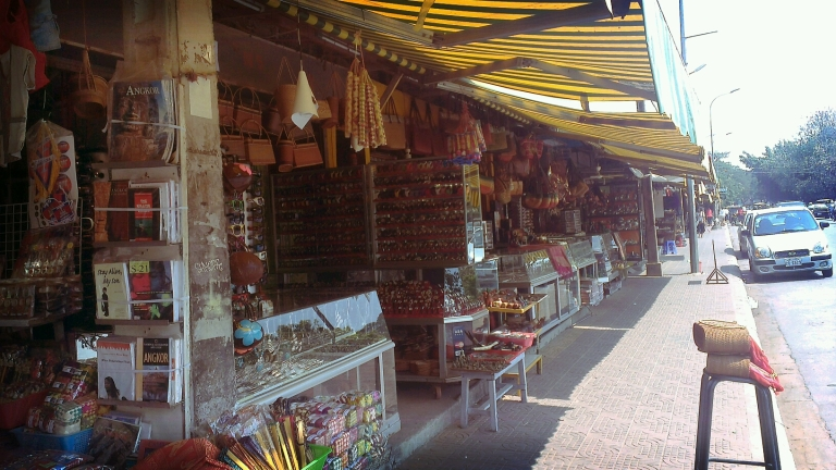 Rows of shops at the Old Market in Siem Reap town proper