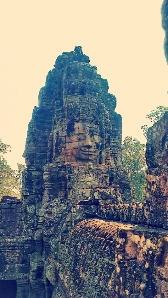 Gigantic stone face at Bayon temple