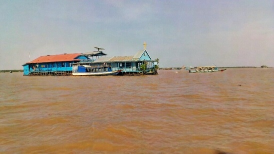 Church at the floating village in Tonle Sap