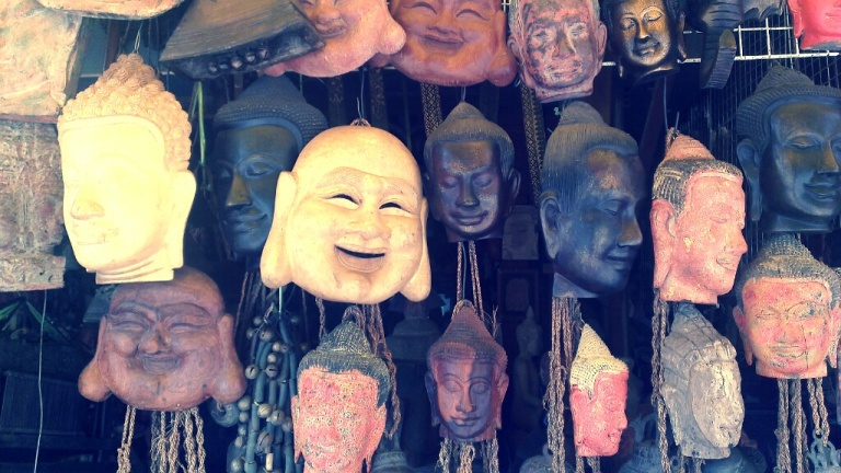 Buddha masks being sold at the Old Market in Siem Reap