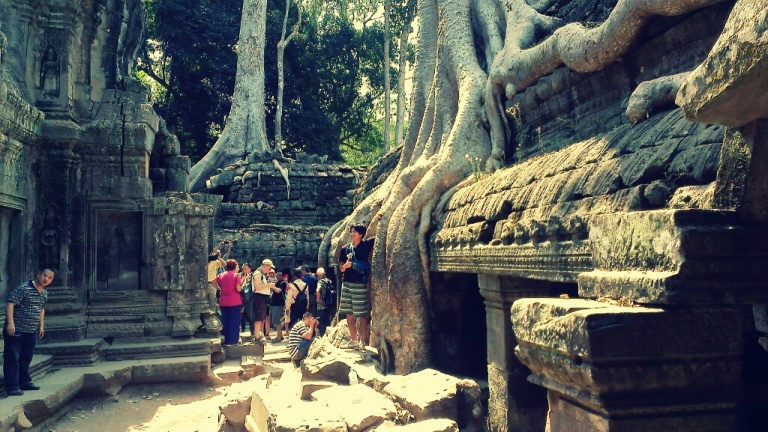Ta Prohm temple overrun by tree roots