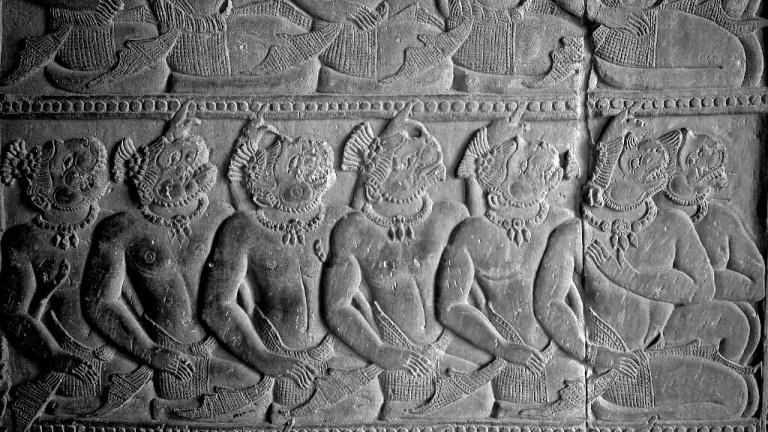 Half-man, half animal stone carving at Angkor Wat