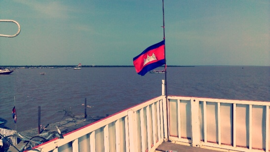 Cambodian flag taken atop a market shop at the floating village in Tonle Sap