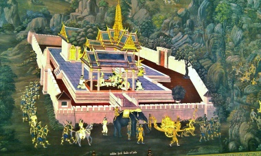 A painting on the wall of the Grand Palace in Bangkok