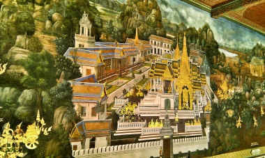 Painting on the wall of the Grand Palace in Bangkok