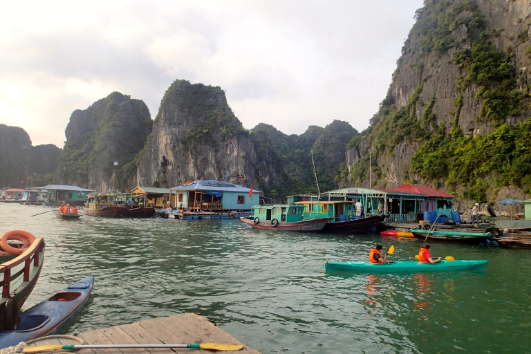 The floating village in Halong Bay
