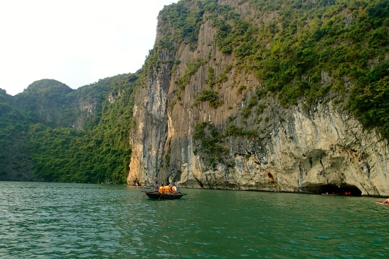 Approaching the tunnel in Halong Bay