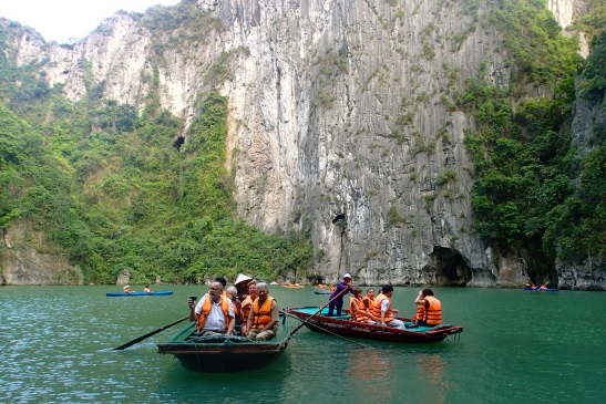 Rowing in Halong Bay