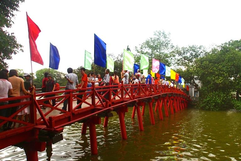 The Red Bridge of Ngoc Son Temple in Hoan Kiem Lake