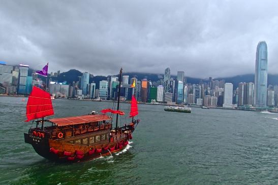 The iconic junk boat of Hong Kong