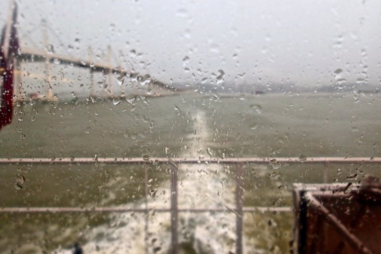 Sailing to Macau while raining